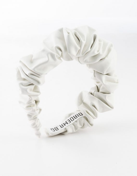 White Leather Scrunchy
