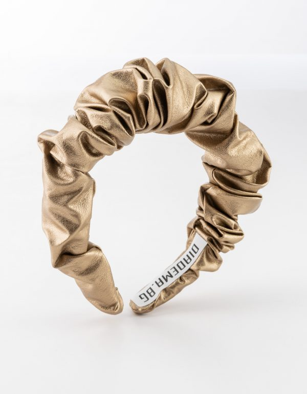 Gold Leather Scrunchy