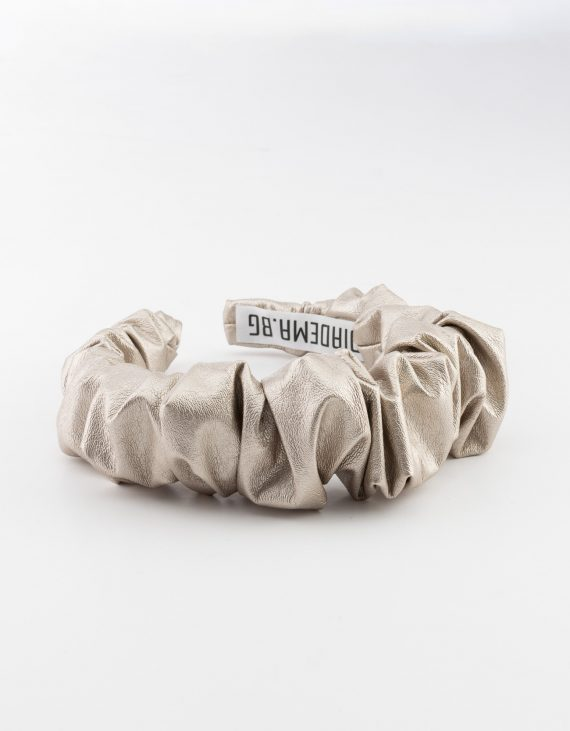 Silver Leather Scrunchy
