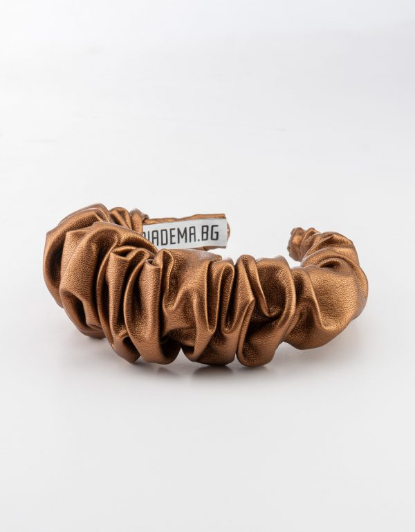 Brown Leather Scrunchy